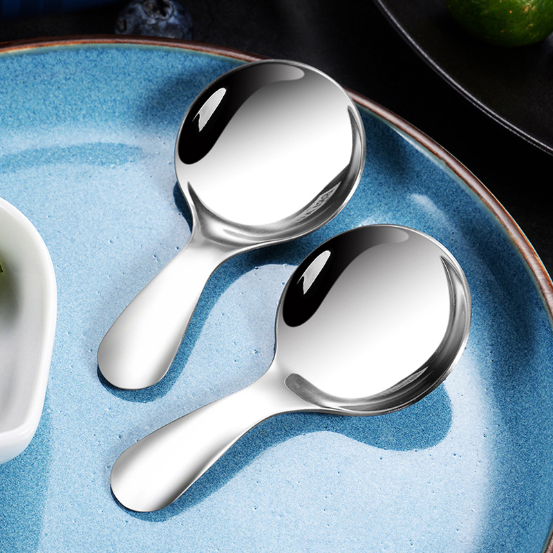 Cute Mini Stainless Steel Kids Spoon Ice Cream Spoon Short Handle Sugar Spice Spoon Small Tea Coffee Scoop Kitchen Accessories (9)