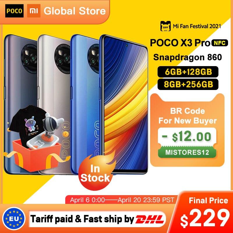W magazynie wersja globalna POCO X3 Pro 6GB 128GB/8G 256GB NFC Smartphone Snapdragon 860 33W Quad AI kamera 120Hz DotDisplay 5160mAh