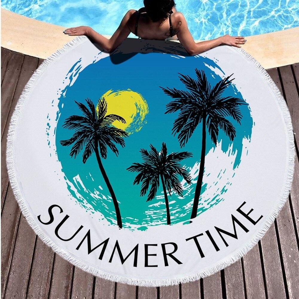 Новое круглое пляжное полотенце 150 см с принтом кокосовых деревьев, круглое богемское банное полотенце s, коврик для душа, плотное полотенце