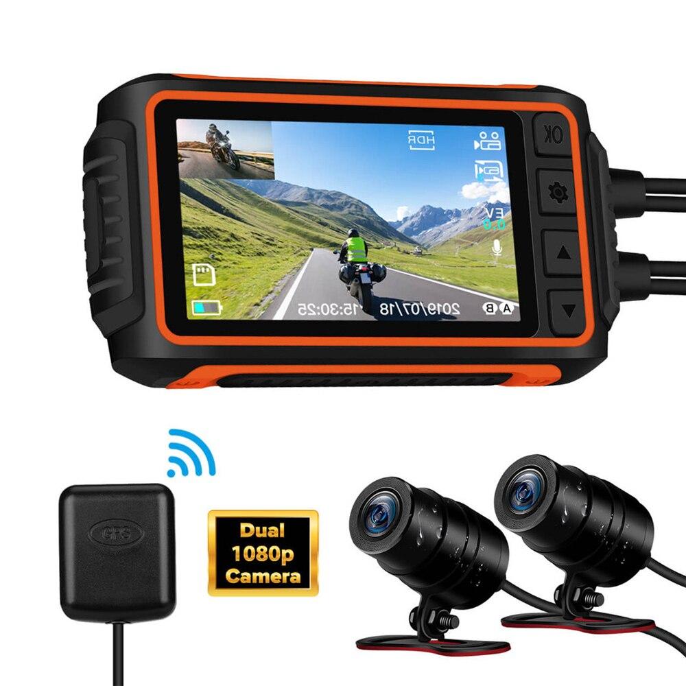 WonVon-cámara de salpicadero impermeable para motocicleta, WiFi DVR con dispositivo de grabación, lente Dual HD 1080P, cámara de visión nocturna con módulo GPS, modelo A10