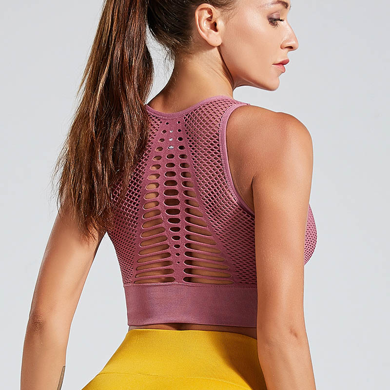 Neue Mode Fitness frauen Gym Bh Hohl Zurück Stretch Bh Push-Up Casual Weibliche Sexy <font><b>Sport</b></font> <font><b>Top</b></font> image