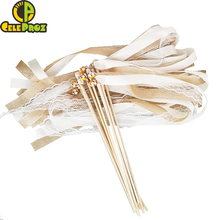 50Pcs Ivory Ribbon Wands Lace Fairy Sticks With Bells Wedding Twirling Streamers Wedding Ribbon Stick Noise Maker Party Supplies