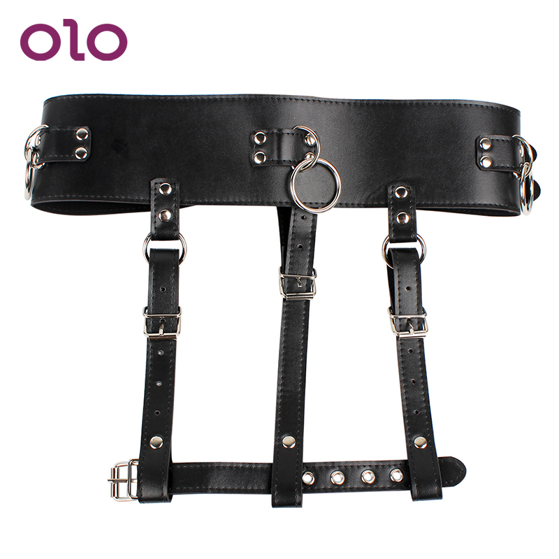 OLO Female Masturbator Chastity Forced Orgasm Belt Harness Strap PU Leather SM Bondage Sex Toys For Women Magic Wand Holder