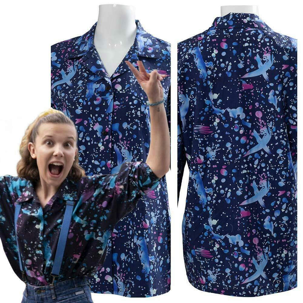 Stranger Things Season3 Cosplay Eleven Costume Print Outfit Long Sleeve Shirt Adult Girls Halloween Carnival Party Costume Women