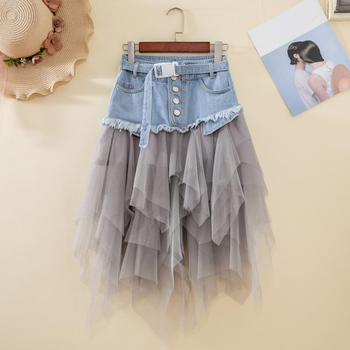 #0289 Black Grey Mini Tutu Skirt Women High Waist Irregular Denim Skirt Spliced Mesh Sexy Club Party Short Jeans Skirt Women