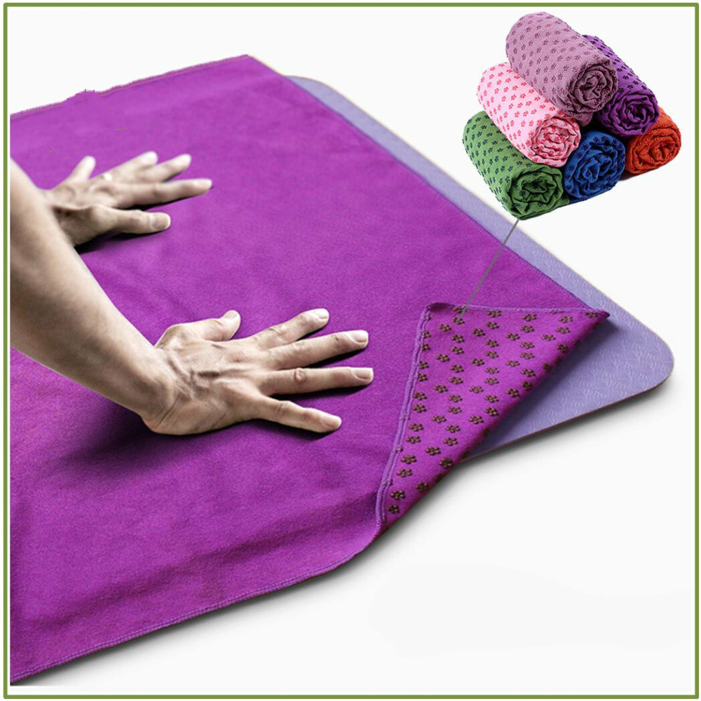 Non Slip Yoga Mat Cover Towel Anti Skid Microfiber Yoga Mat Size Shop Towels Pilates Blankets Fitness 183cm*61cm 72''x24''