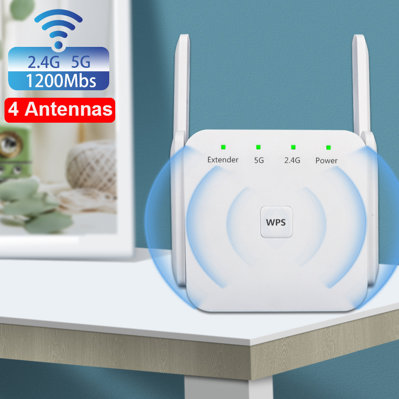 Wifi Signal Amplifier 5G/2.4G Dual Band Wifi Booster 1200Mbps 4 Antennas Wifi Extender Reveiver For House Wifi Range Booster