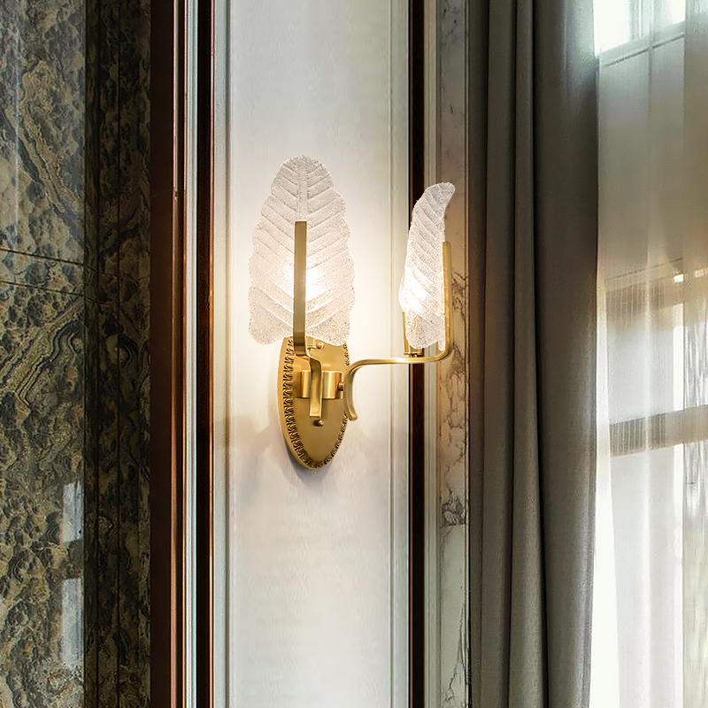 Jmzm Modern Copper Wall Light Bedside Lamp Wall Lamp Creative Art Frosted glass Lampshade Aisle Balcony Lamp Living Room Bedroom