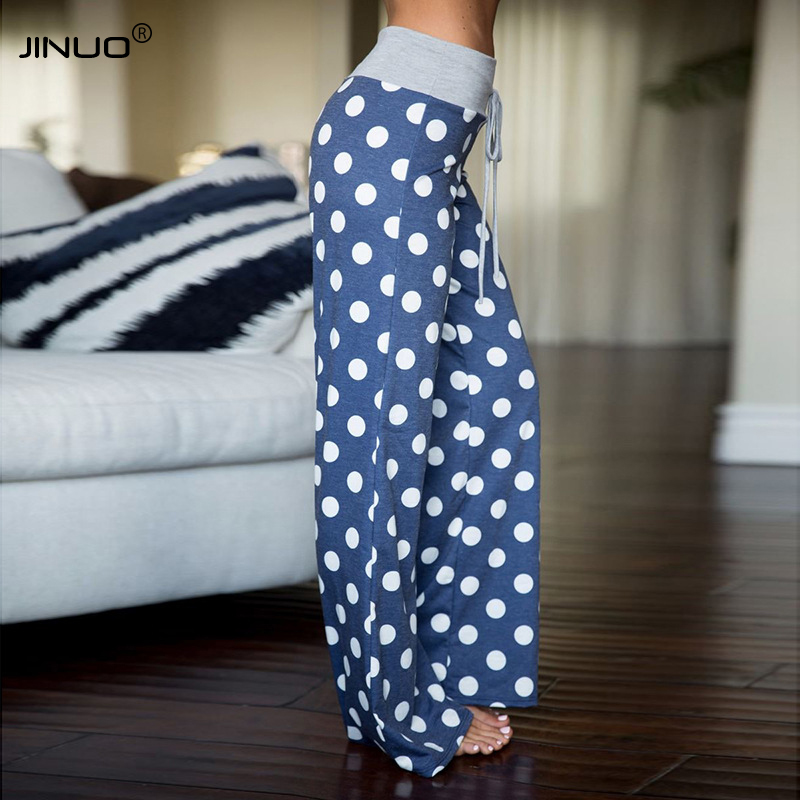 JINUO Women's Loose Comfy Lounge Pajama Pants Casual Floral Polk Dot Print Wide Leg Palazzo Bottoms Trousers With Drawstring