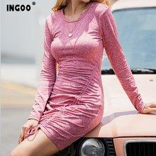 Женское платье футболка с рюшами ingoo повседневное облегающее