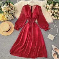 YuooMuoo Polka Dot Dress Women Red V Neck Long Party Dress Lantern Sleeve Slim Waist Autumn Chiffon Dress Sundress Vestidos