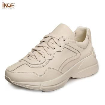INOE New Fashion Spring Genuine Cow Leather Women Casual Sneakers Shoes Autumn Flats Girls For Walking Shoes Lace Up Rubble Sole