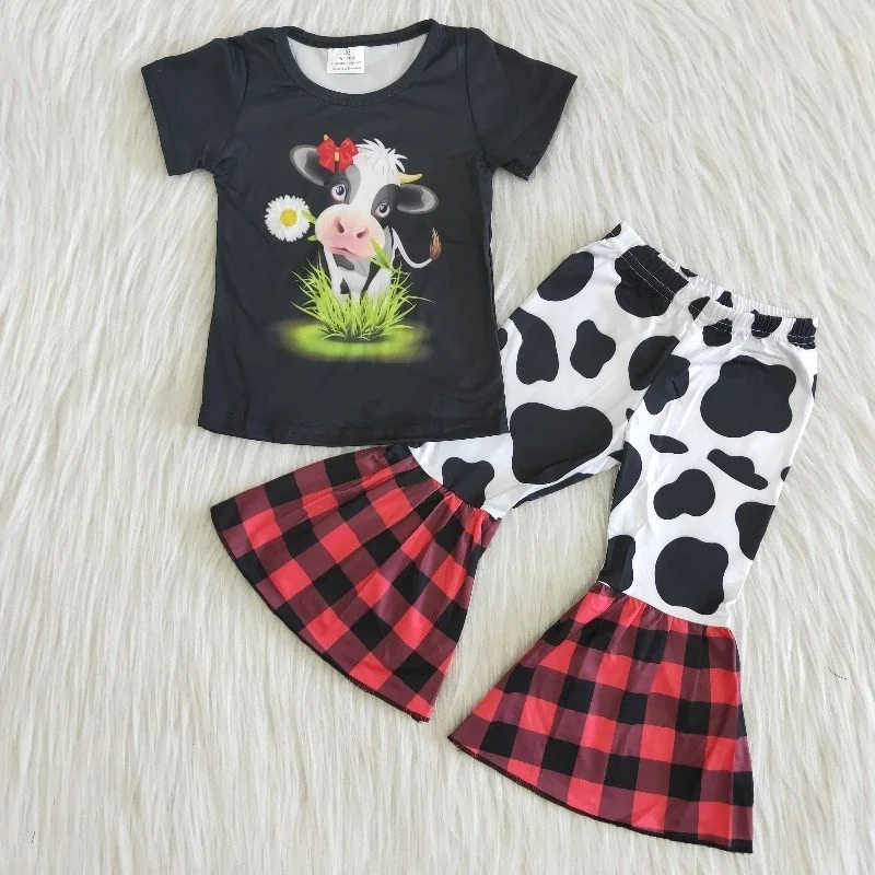 Wholesael baby girls boutique outfits fashionable kids cow top bell bottom pants summer children cute clothing clothes