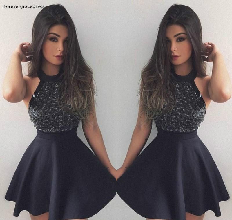 2019 Black Beaded   Cocktail     Dress   A Line Jewel Neck Short Mini Club Wear Homecoming Party Gown Plus Size Custom Make