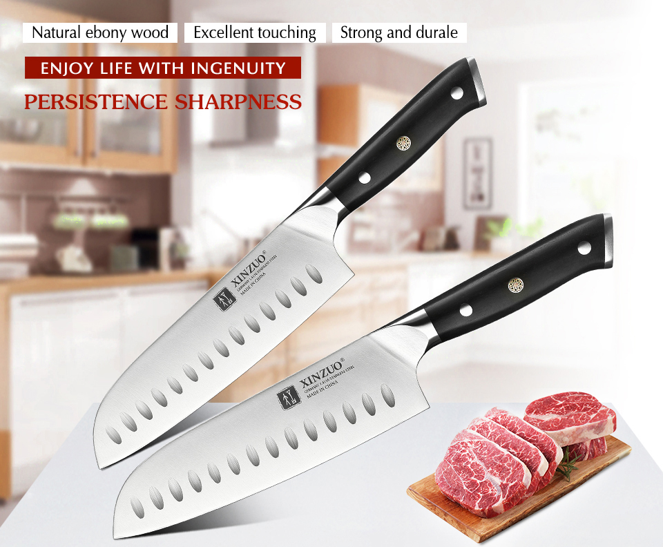 7 Inch Santoku Knife DIN 1.4116 Stainless Steel Germany Kitchen Knife