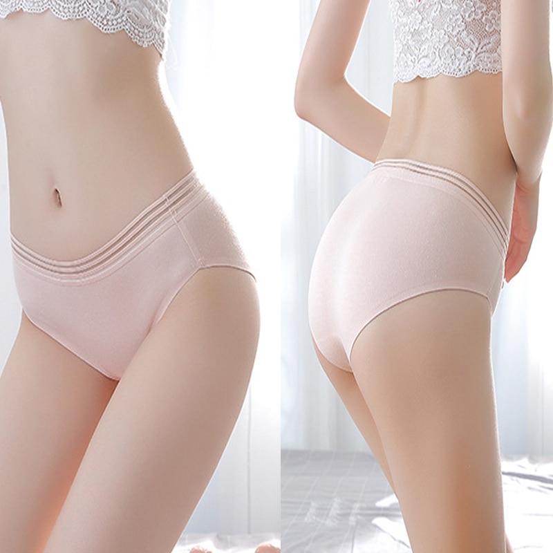 Cotton Seamless Briefs Hollow Out Striped Panties Women's Underwear Female Lingerie Sexy Lace Transparent Female Underpants