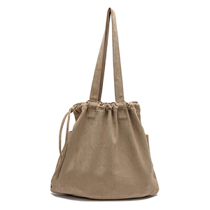 Image 3 - 2020 Winter New Korean Suede Drawstring Tote Bag Casual Women Handbags Middle Ladies Shoulder Bag Young Shopping Bag Whole Sale