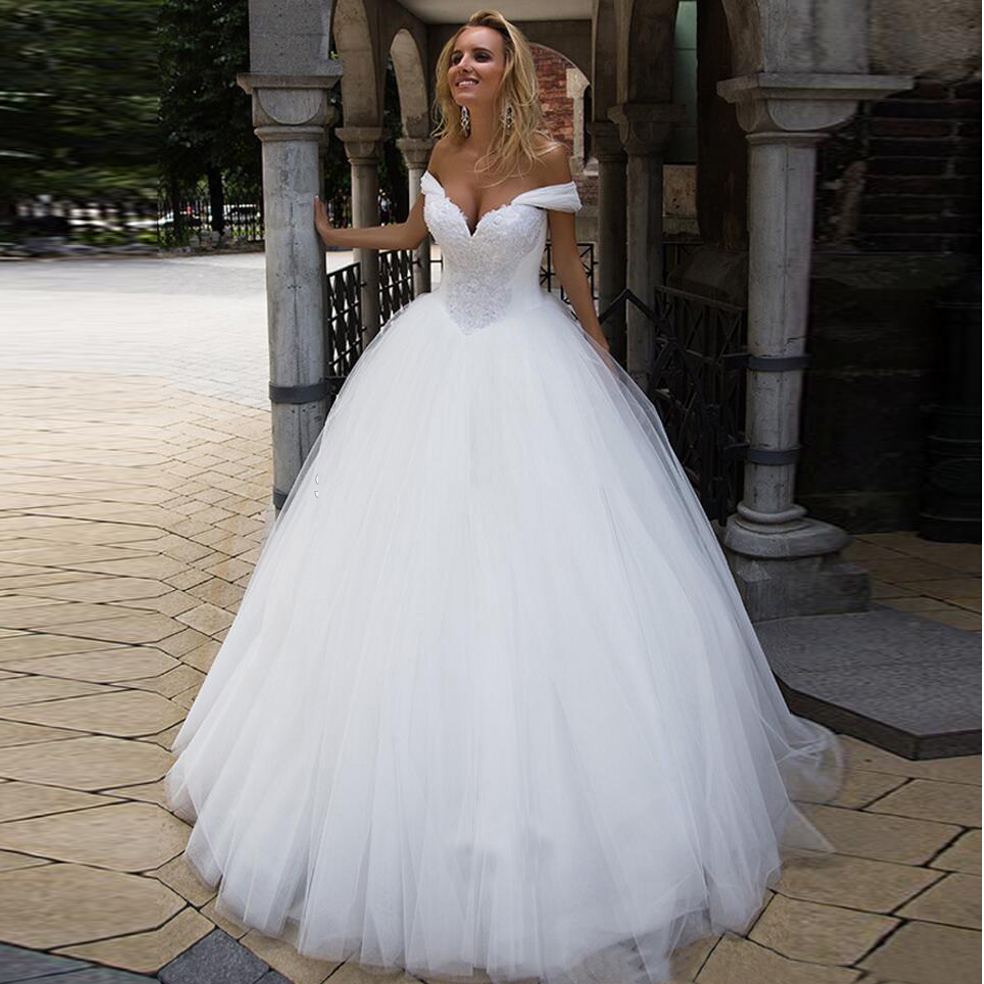 Ball Gown Sweetheart Off The Shoulder Wedding Dresses Appliques Bodice Sweep Train Tulle Bridal Gowns 2020 Newest Bride Dress