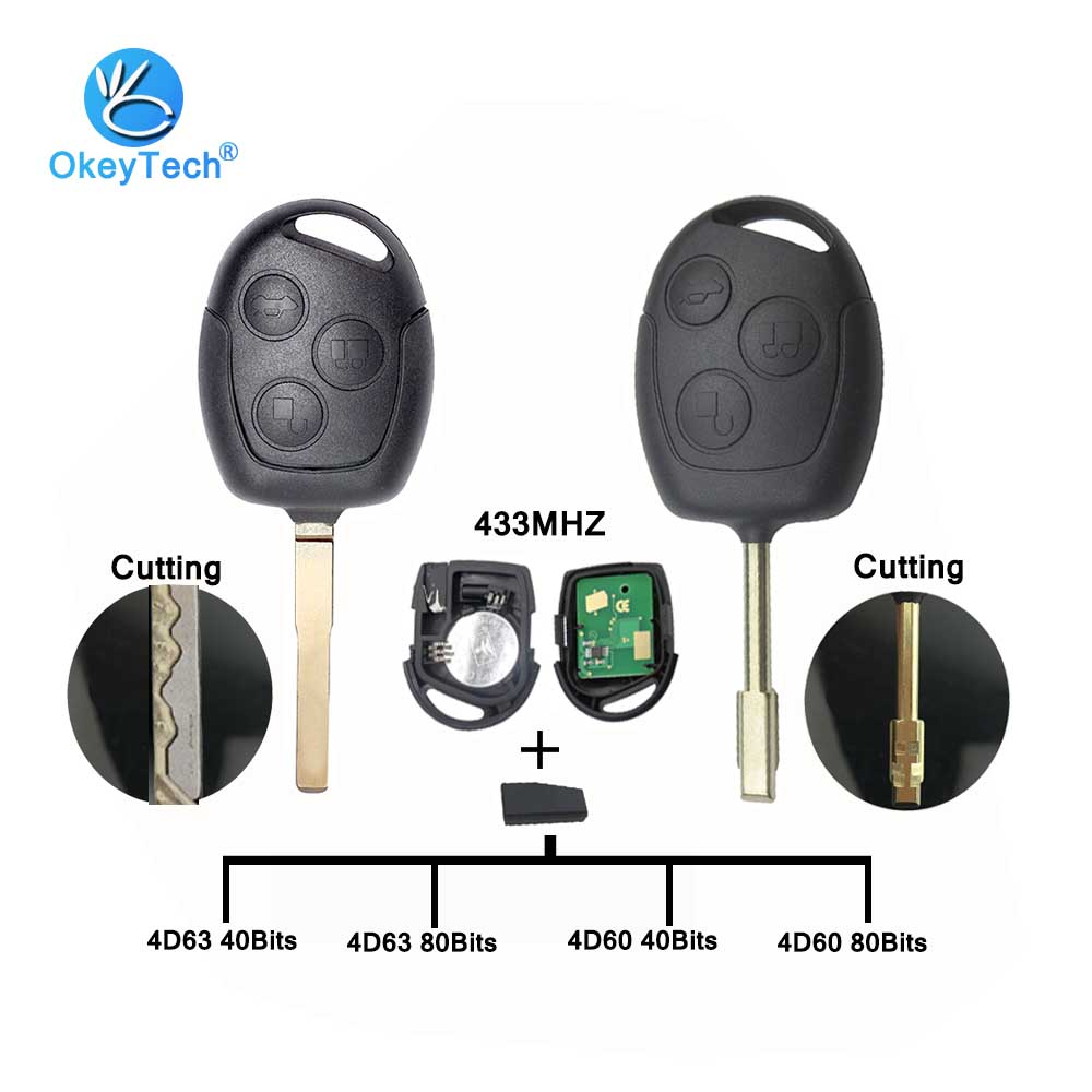 OkeyTech Car Remote Key For Ford Focus 2 Fiesta Transit Mondeo 433Mhz 4D63 4D60 40 80 Bits Chip HU101 FO21 Cutting Blade Service
