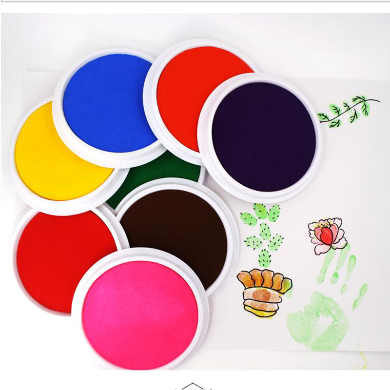 Funny 10 Colors Ink Pad Stamp DIY Finger Painting Craft Cardmaking For Kids Montessori Drawing Baby 0-12 Months Kids
