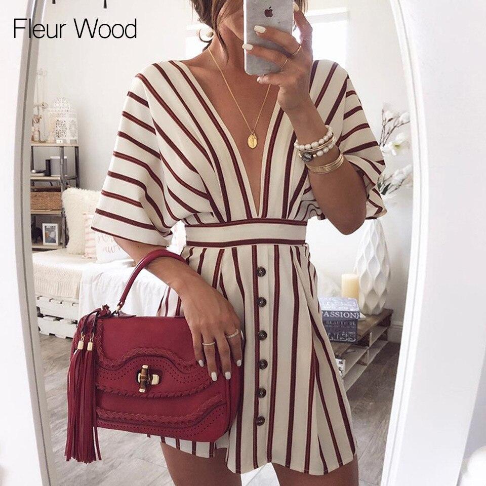 Fleur Wood Deep V Neck Dress Women Summer Striped Print Short Sleeve Button Casual Streetwear A-Line Loose Vintage Dress Vestido