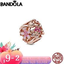 925 пробы серебро и розовое Позолоченные ажурные Розовый Дейзи