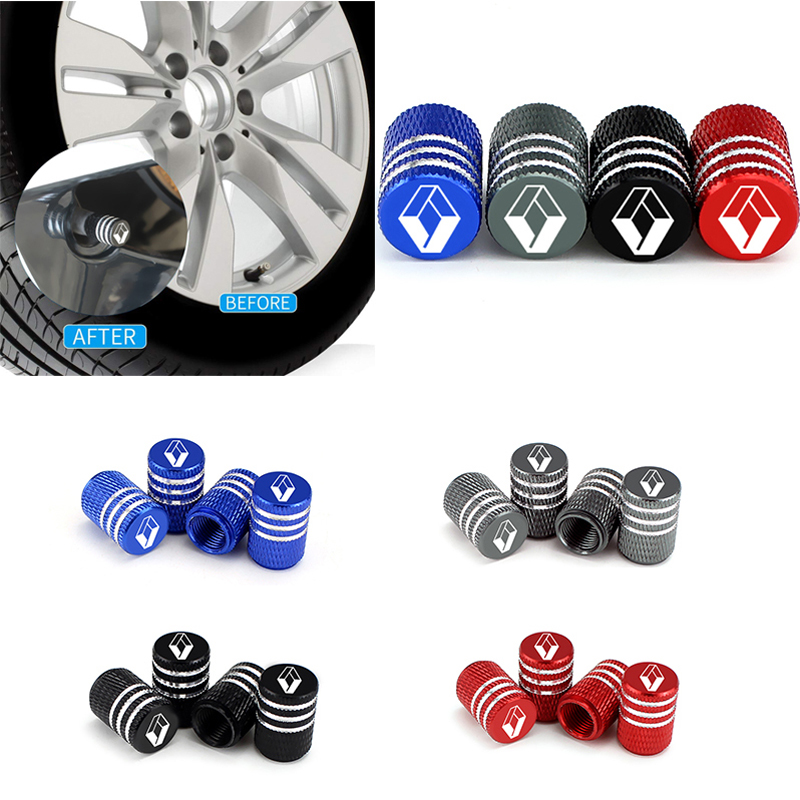 Car Valve Stem Caps For Renault Logan Capture Duster Clio Kadjar Laguna Scenic Kangoo Symbol Twingo Wheel Tire Accessories 4pcs