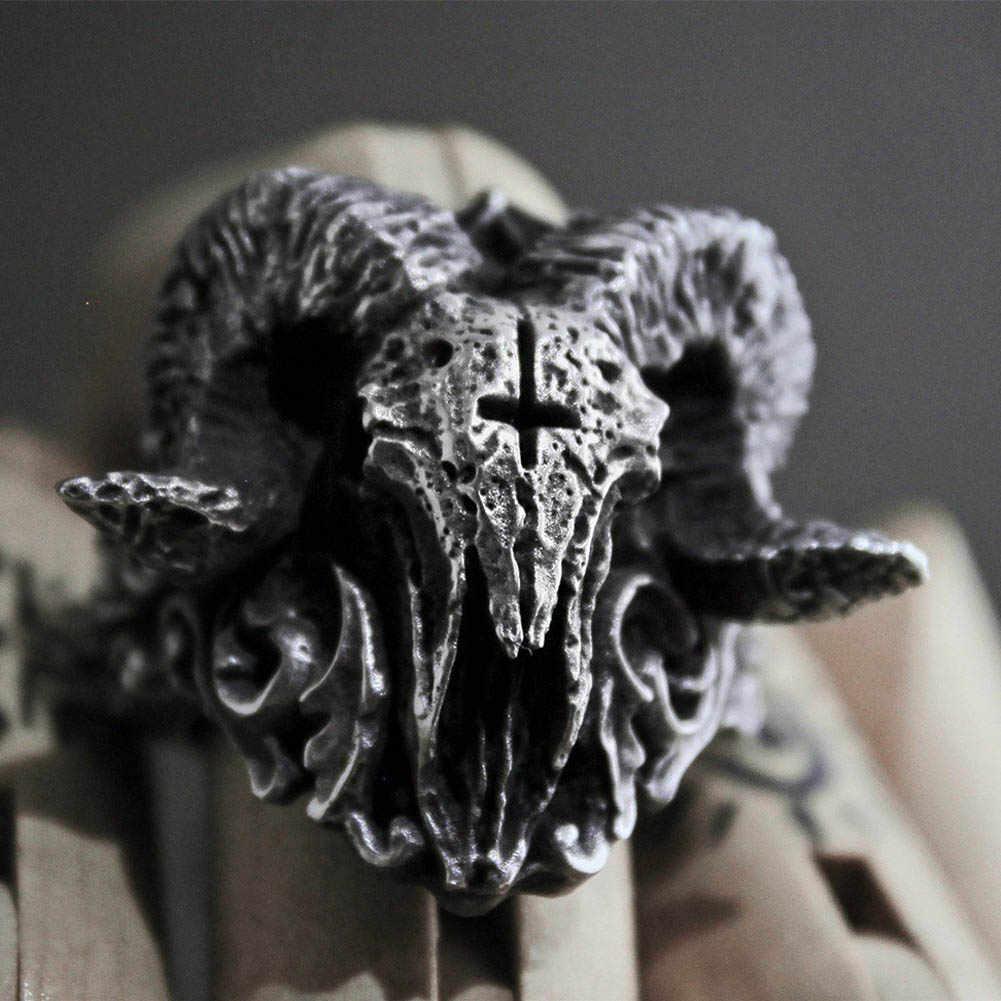 Benzersiz Punk gotik şeytani iblis Sorath kafatası yüzük erkekler 316L paslanmaz çelik motorcu yüzüğü Baphomet takı hediye