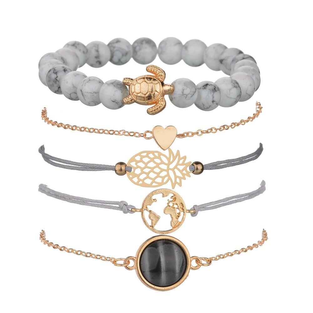 Популярный браслет-цепочка из 5 шт ананас-Черепаха-сердце-карта сплав цепь/веревка ручной ювелирные изделия