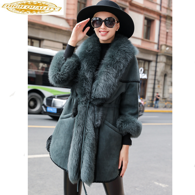 Luxury Double Faced Fur Coat Female Genuine Leather Jacket Winter Jacket Women Fox Fur Collar Natural Wool Fur Coats MY