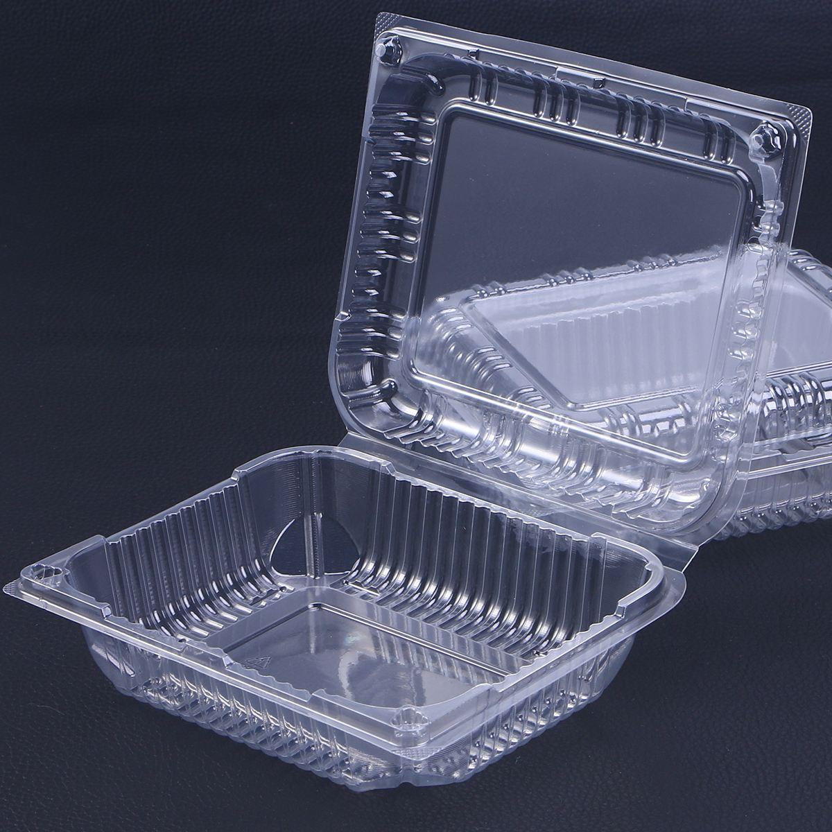 30 pièces boîte jetable Transparent à charnière couvercle plastique aliments à emporter conteneurs pour Desserts Fruits légumes-17.5x14.3x6 cm