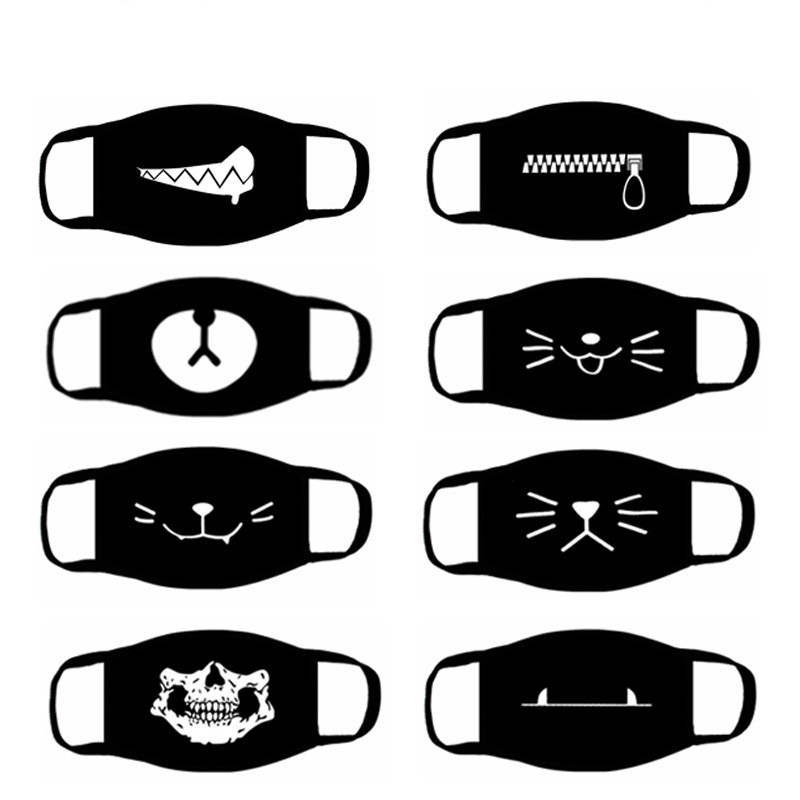 Black Anti-Dust Unisex Cartoon Cotton Mouth Mask For Women Men