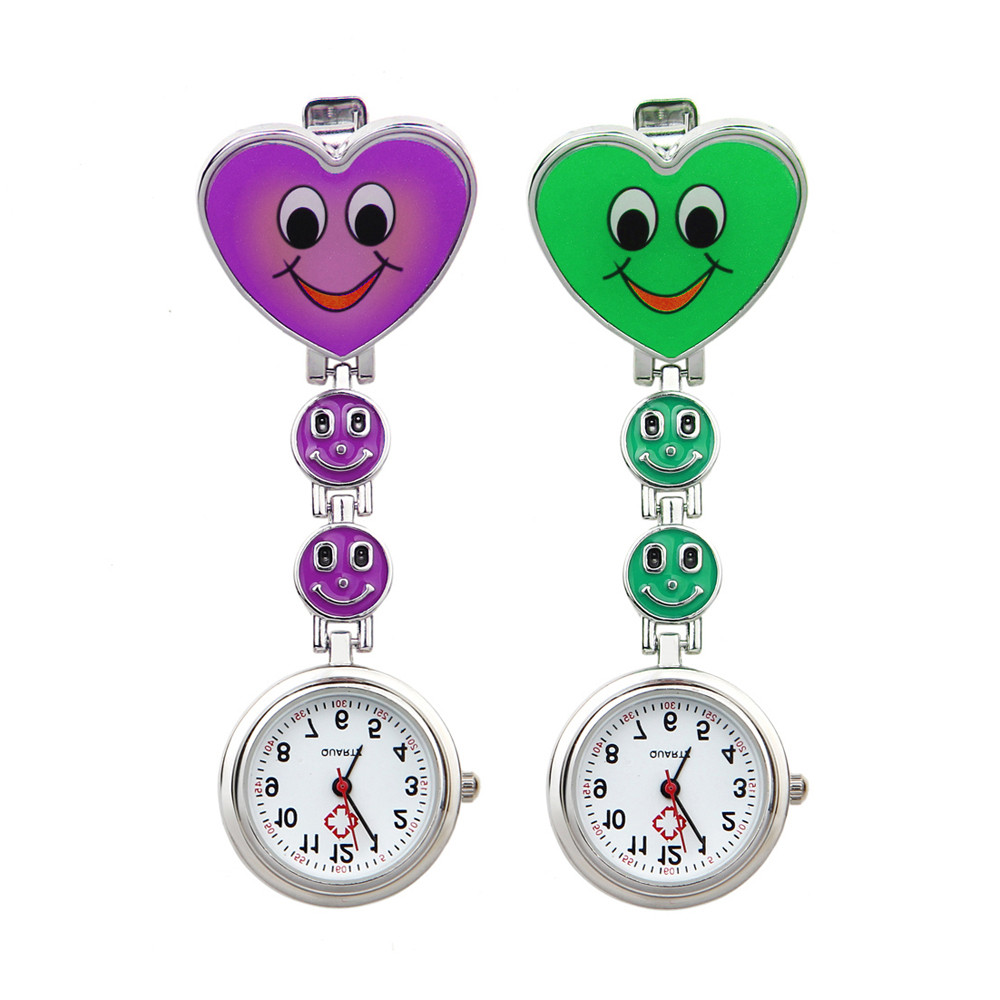 Hot Sell Heart Shape Pocket Watches Silicone Nurse Watch Brooch Tunic Fob Watch With Free Battery Medical Reloj De Bolsillo QG