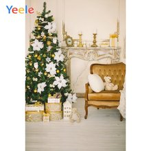 Рождественский подарок на елку камин медведь деревянный пол