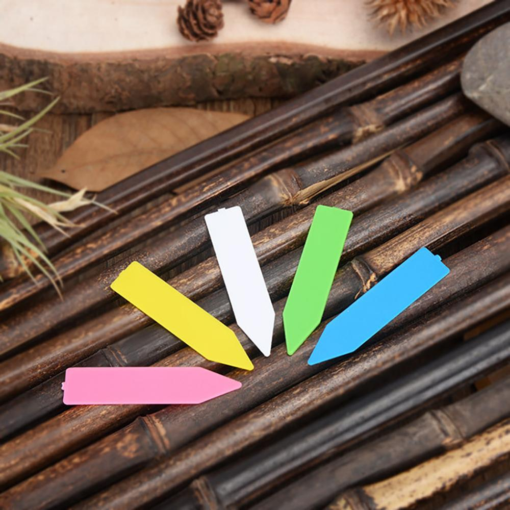 100Pcs Garden Plant Labels Plastic Plant Tags Nursery Markers Flower Pots Seedling Labels Tray Mark Tools Mix Colors title=