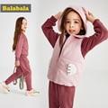 Balabala Peuter Meisjes Kleding set kids Herfst Winter jas + Broek Kerst kleding Meisjes gedrukt Outfits Sport Pak Kinderen set