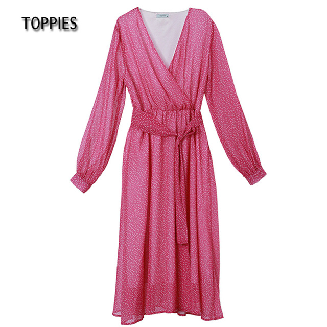 Toppies 2021 Women Dress Heart Print vestidos Wrap around v neck Long sleeve Fashion Pink Chiffon Dresses 2