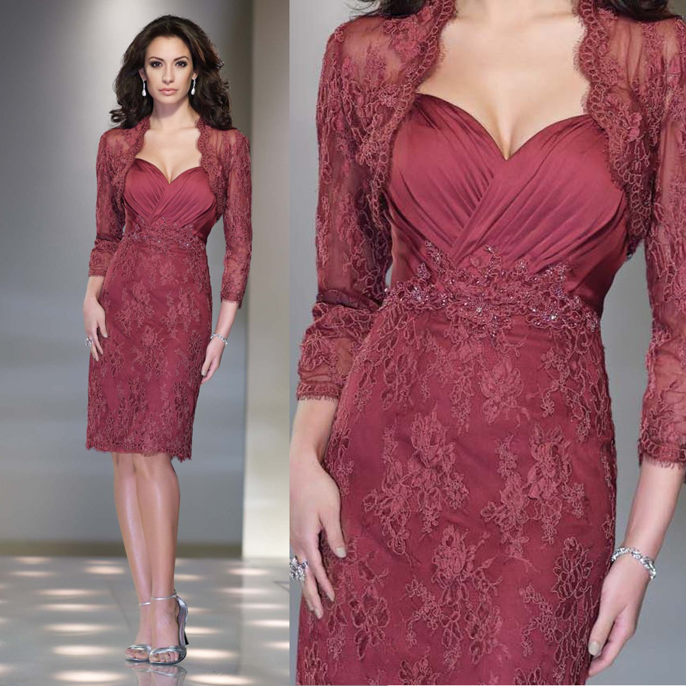 2016 Gorgeous Mother Of The Bride Dress Lace Evening Dress Knee Length 3/4 Sleeves Mother Of The Bride Dresses With Jacket