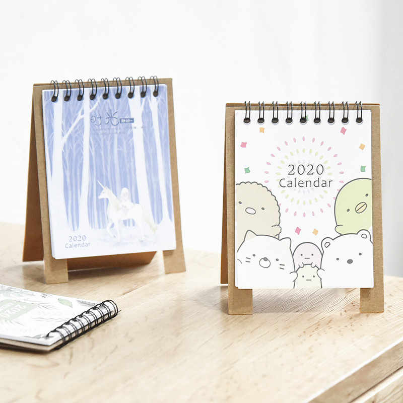Hand Drawing 2020 Fresh Cartoon Mini Desktop Paper Calendar dual Daily Scheduler Table Planner Yearly Agenda Organizer