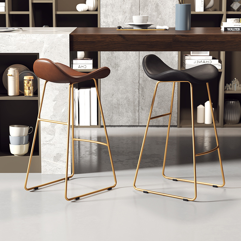 Creative Bar Chair Modern Minimalist Iron Bar Chair Cafe Dessert Shop Front Desk High Stool