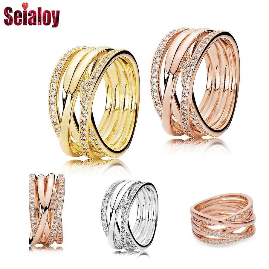 Seialoy or Rose ficelle anneaux pour femmes filles Original Fine strass Couple empilable bijoux de mariage anneaux d'anniversaire