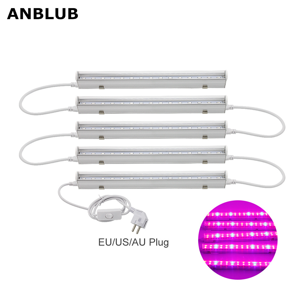 Full Spectrum T5 Tube LED Grow Light 220V 110V Phyto Lamps With EU US Plug Switch Wire AC 85-265V For Hydroponic Plants Flowers