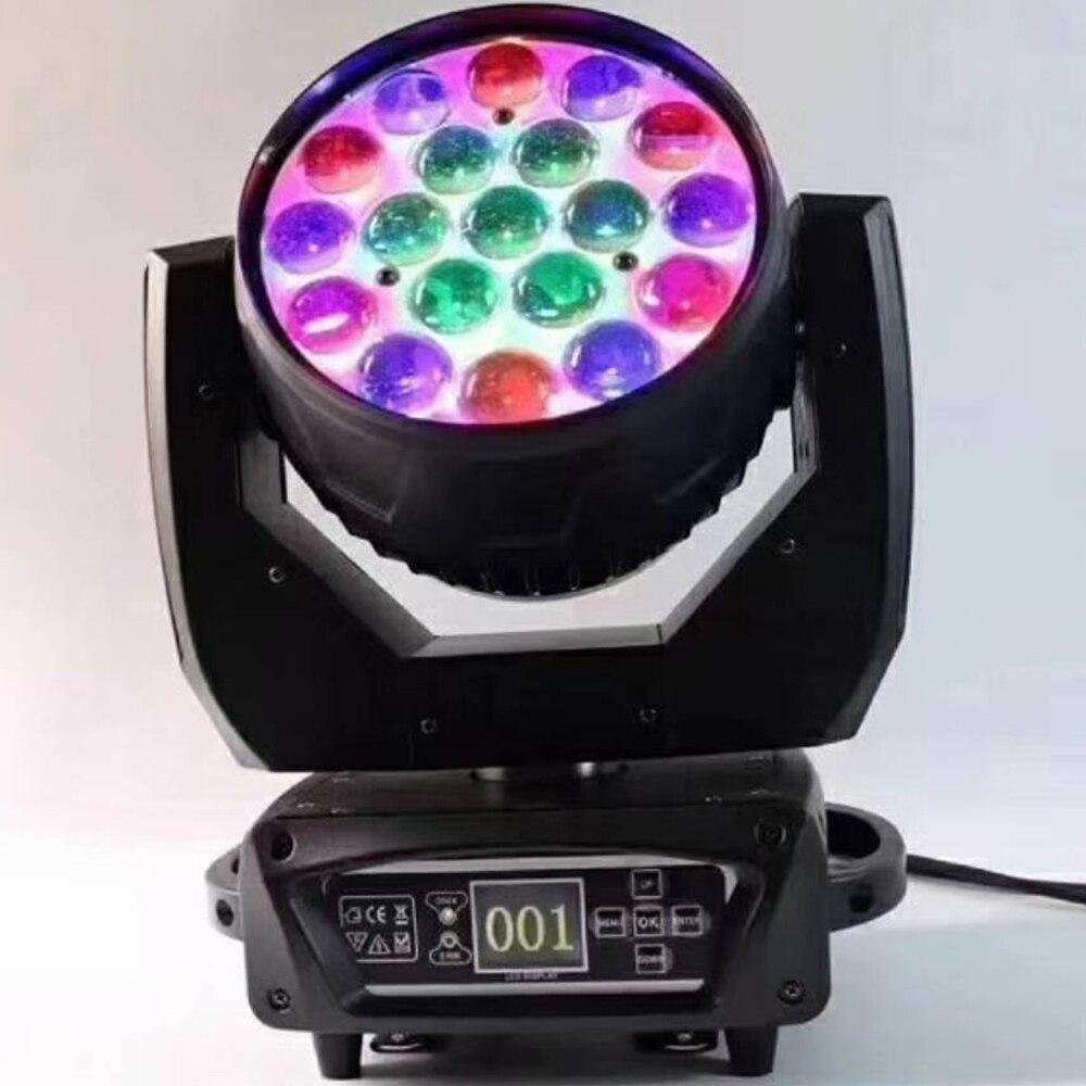การจัดส่งอย่างรวดเร็วจากสเปนโปแลนด์ USA LED ซูม 19x15 W RGBW ย้าย ZOOM Moving Head ใหม่หัวล้าง