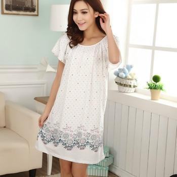 Plus Size Nightgowns For Women 2021 Summer Dressing Gowns Girls Nightshirts Nightdress Cotton And Silk Sleepshirt L-XXL E1082 1
