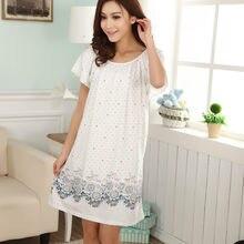 Plus size camisas de noite para as mulheres 2021 vestidos de verão meninas camisas de noite de algodão e seda sleepshirt L-XXL e1082