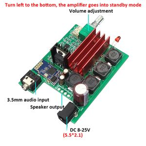 Image 5 - TPA3116D2 Bluetooth 5.0 Amplifier Audio Board Qcc3003 50W*2 Digital Power Amplifier 2.0 Channel Stereo Amp DC8 25V T0745
