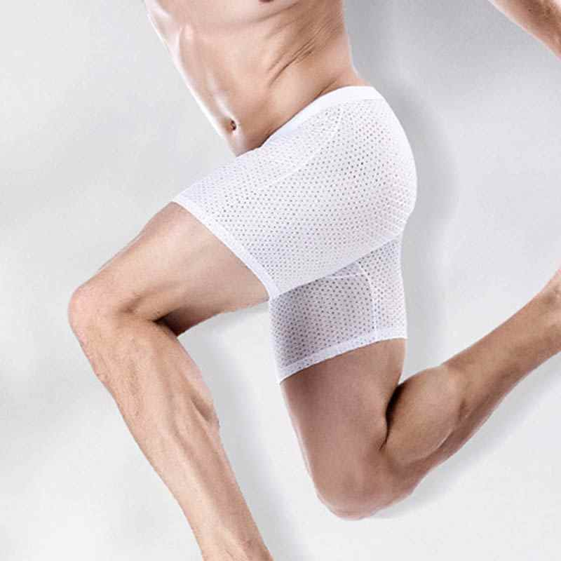 Hot Men Ice Silk Body Shaper Shorts Pouch Soft Mesh Bulge Boxer Underwear Breathable Sport Short