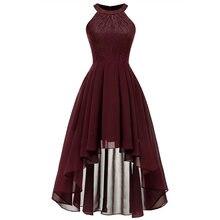 Женское шифоновое платье с лямкой на шее zogaa элегантное кружевное