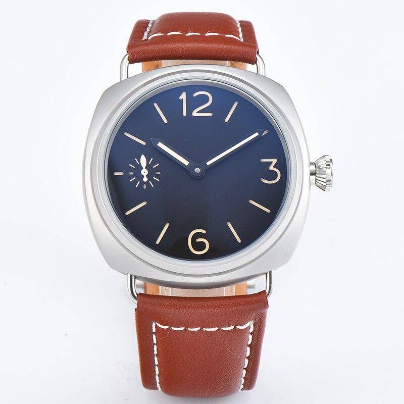 OUMASHI 45mm montre hommes mouvement automatique en acier inoxydable poli boîtier hommes de haute qualité en cuir marron bracelet montre