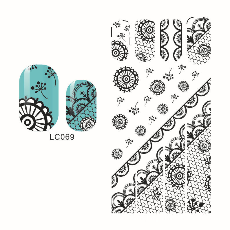 LC69-72 Black New Style Hot Selling Japan Popular 3D Lace Nail Sticker Bride Flower Stickers Currently Available Environmentally